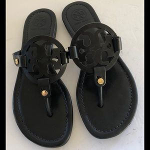 Tory Burch Miller Logo Leather Sandals Black 6